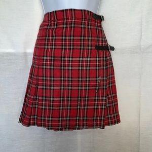 Free People Red Plaid Buckle Kilt Skirt